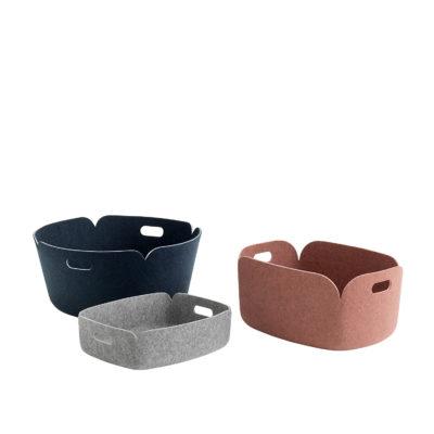 RESTORE Round Basket, Dusty Green