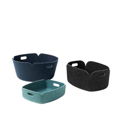RESTORE Round Basket, Grey Melange