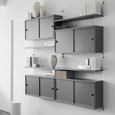STRING Cabinet with Sliding Doors, D20, Oak