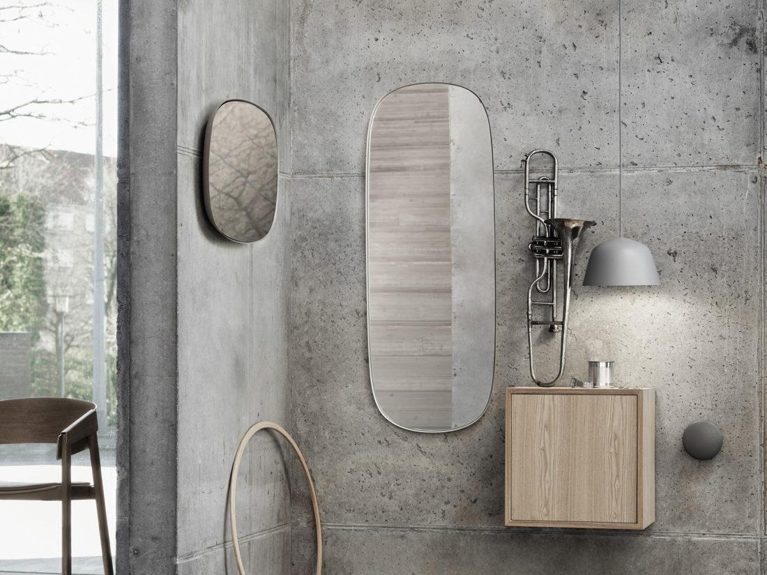 FRAMED Mirror Large, Grey-Clear