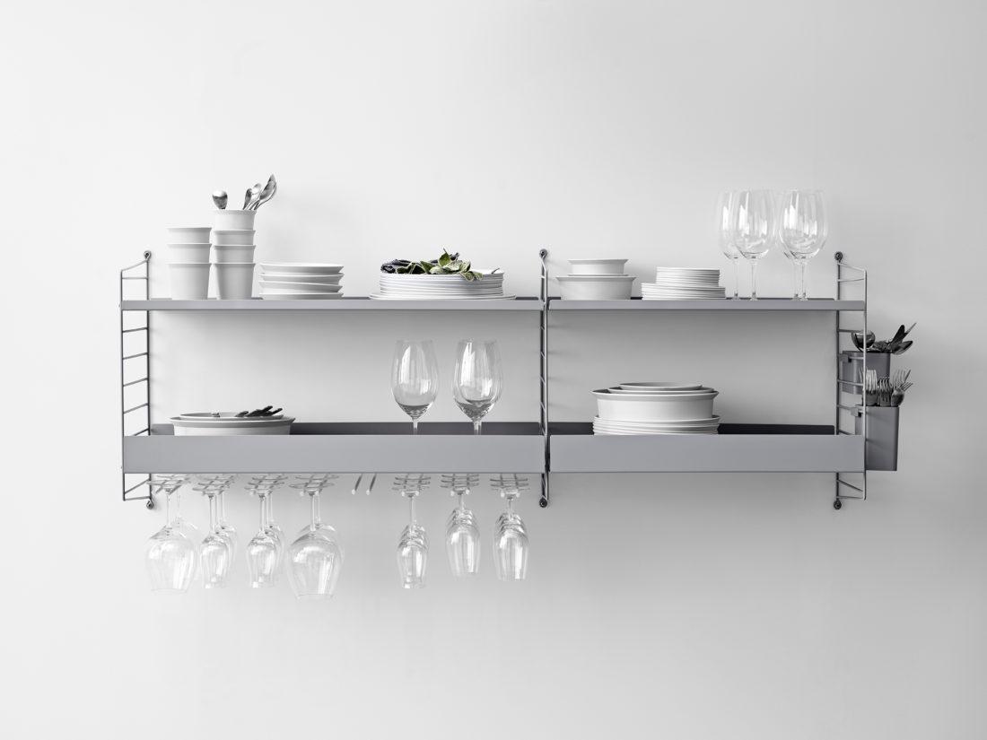 STRING Metal Shelves High Edge, 58x30cm