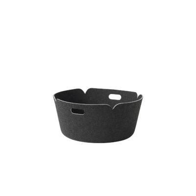 RESTORE Round Basket, Black Melange