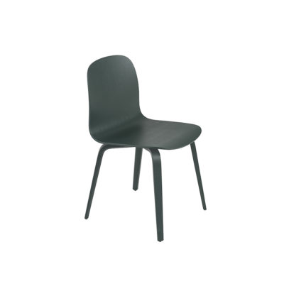 VISU Chair, Wood Base, Dark Green