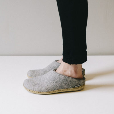 SLIPPERS Slip-on, Leather Sole, Grey