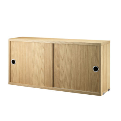 STRING Cabinet with Sliding Doors, D20, Oak