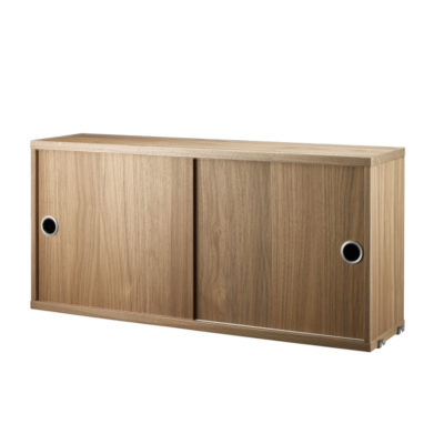 STRING Cabinet with Sliding Doors, D20, Walnut
