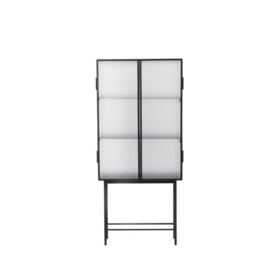 HAZE Vitrine, Wired Glass, Black