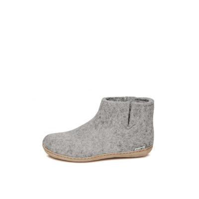 SLIPPERS Boot, Leather Sole, Grey