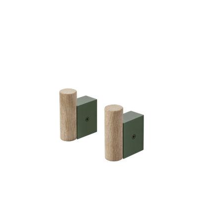 ATTACH Coat Hook Oak/Dark Green